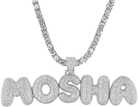 kspace Hip hop A - Z Initial or 0-9 Number or Custom Bubble Letter Pendant with Tennis Chain for Men Women