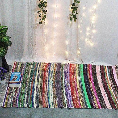 Tapis chindi indien - Fait à la main avec des bouts de tissu multicolores recyclés - Tapis décoratif style Boho - 150 x 90 cm (White)