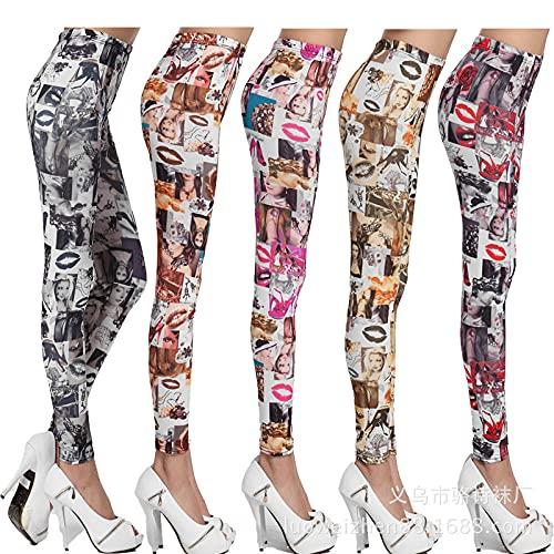 bayrick Explosión de Moda,Leche de Primavera y otoño Labios de Seda Imprimir Pantalones de Yoga Pantalones Personalidad Moda Leggings-Gran Rojo_Código