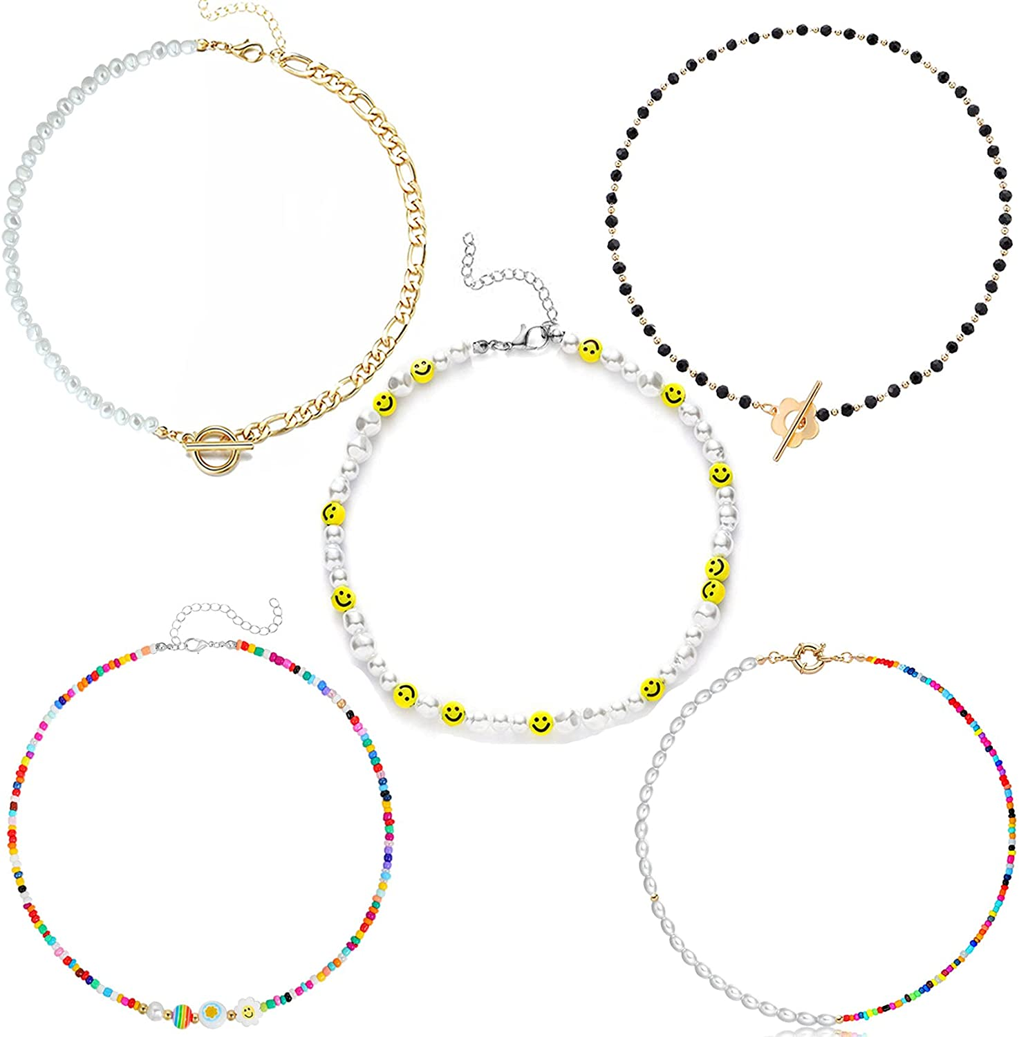 Honsny 2-5 PCS Boho Pearl Beaded Necklace Set Y2k Pearl Chain Choker Necklace for Women Girls Smiley Face Fruit Charms Chokers Colorful Seed Flower Beaded Choker Pearl Bead Necklace for Teen Girls