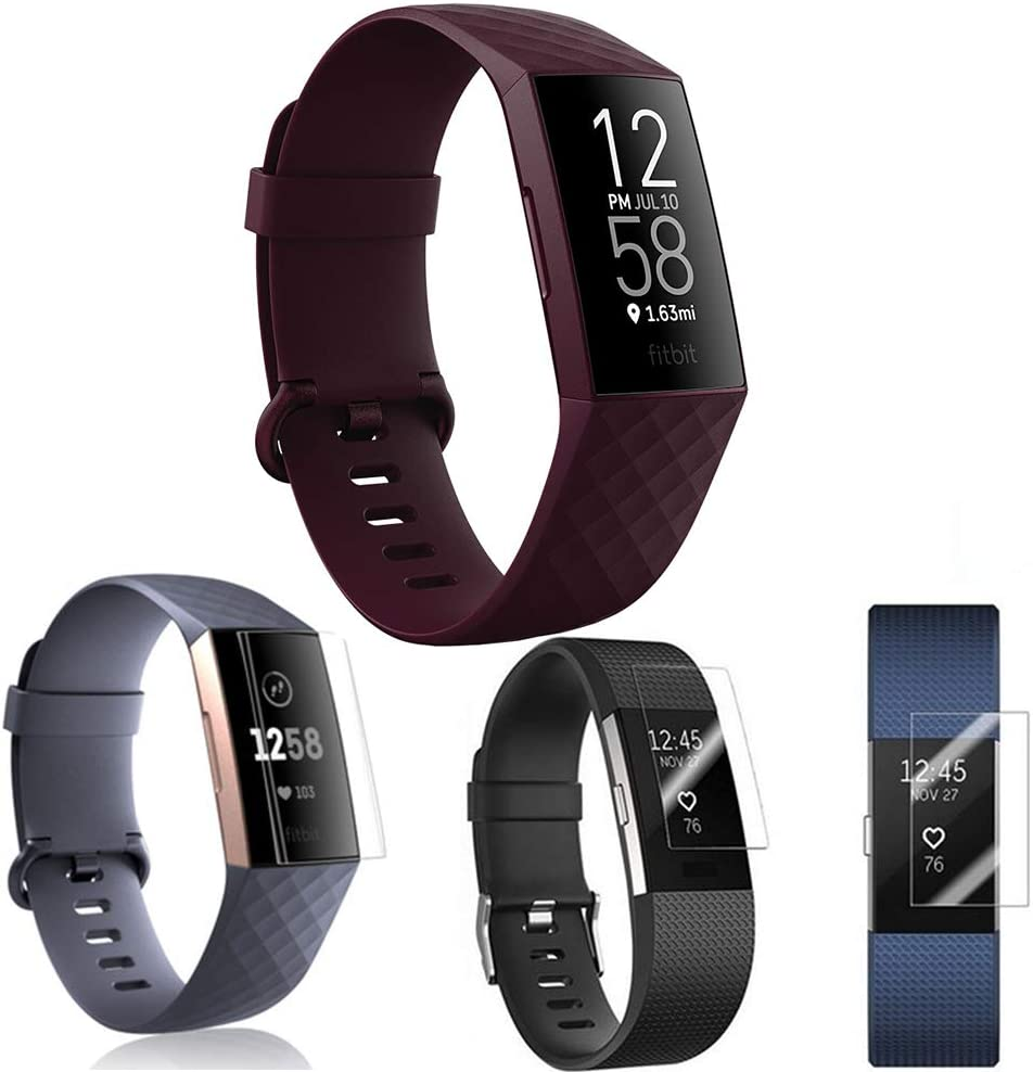 Screen Protector Guard Saver for Fitbit Charge 2, Charge 3, Charge 4 TPU Hydrogel Film Cover 3-Pack (Charge 3)