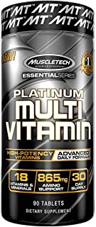 Muscletech Platinum Multivitamin Advanced Daily Formula 18 Vitamins & Minerals + 865mg Amino Acids A C D E B6 B12, Unflavo...
