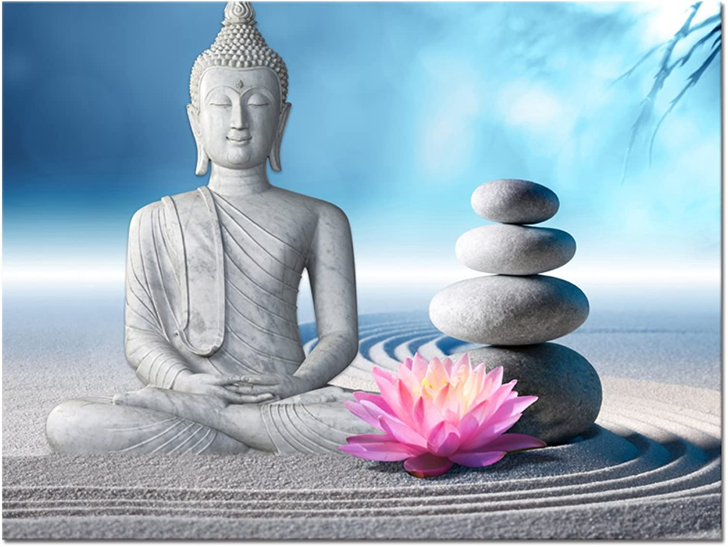 Buddha Canvas Wall Art,Framed and Stretched,Large Size Peaceful Buddha Act with Compassion ,White Sand Zen Stone Canvas Prints,Water-proof,Religious Style Canvas Art (24 x32 )