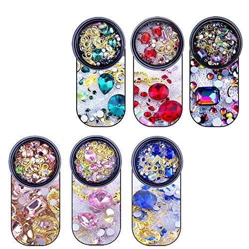 YGSAT 6 Boxen 3D Nagel Kristalle Nagel Kunst Strass Flache Rückseite Gemischte Glitzersteine Fingernägel Aufkleben Zubehör für Nägel Dekoration Makeup Kleidung Schuhe