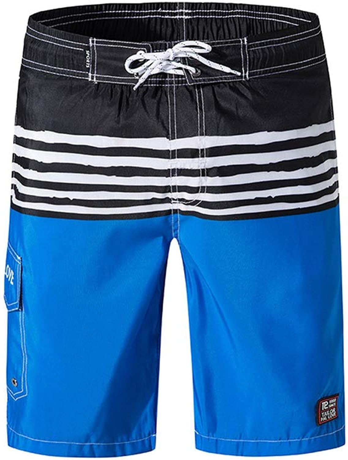 WSJTT Men's Swim Trunks, Boys Shorts Leisure Swimming Running Quick Dry Board Beach Shorts with Mesh Lining, Pockets, Adjustable Drawstring (color   A, Size   M)