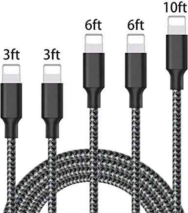 iPhone Charger, Mfi Certified Lightning Cables 5Pack 3Ft...