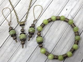 Set di gioielli con bracciale, orecchini e collana in giada verde di Taiwan da donna stile vintage
