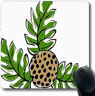 Ahawoso Mousepad Oblong 7.9x9.8 Inches Leaf Green Hawaiian Retro Tropical Ulu Breadfruit Plant Paradise Clip Hawaii Nature Tan Tiki Vintage Office Computer Laptop Notebook Mouse Pad,Non-Slip Rubber