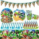 Decoración de Mesa de Cumpleaños, Juego de Vajilla de Sonic para Fiesta de Cumpleaños Sonic The Hedgehog Party Supplies Juego de Decoración Decoraciones de Cumpleaños Para Niños