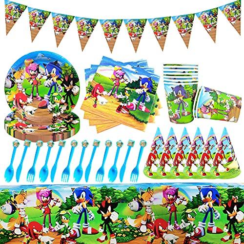 Stoviglie per Feste, Stoviglie Sonic Utensili per decorazioni per feste Sonic Hedgehog Articoli per Feste Set di Decorazioni per Baby Shower Compleanno Tema Sonic
