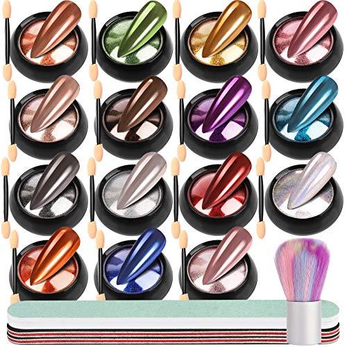 15 Farben Nagelpuder Set, FANDAMEI Chrom Pigment Puder Metallic Spiegeleffekt Nagelpulver Nägel Pulver mit Lidschattenpinsel, mit Nagelfeilen, Nagelbürste, für Nagelkunst, Nageldesign