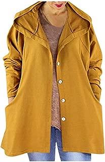 〓COOlCCI〓Women's Lightweight Button-Down Hooded Waterproof Raincoat Windbreaker Outdoor Jacket Anorak Parka Double Pocket