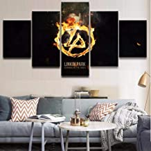 HZDDR 5 Pieces Music Linkin Park Logo Canvas Printed Paintings Wall Art Home Decorative for Bedroom Living Room Poster Modern Artwork-20CMx35/45/55CM