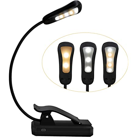 Book Light - Rechargeable Reading Lights for Books in Bed with 3 Colors and 9 Brightness, LED Book Reading Light with Clip for Kids, USB Reading Light for Bed, Sofa, Music Stand, Office, Travel