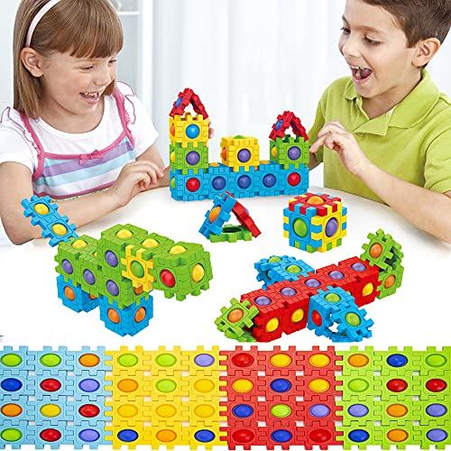 Pop Building Blocks Set, 48 pcs Kids Builders Tiles Set, Push Bubbles Interlocking Building Blocks for Toddlers and Kids, Fun and Educational Toy Building Set for Skill Development PLEASION