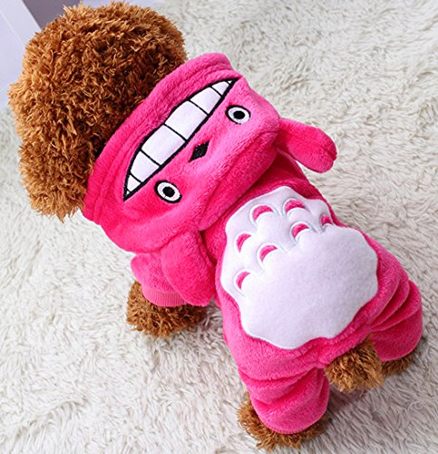 Xiaoyu Puppy Dog Pet Clothes Hoodie Warm Sweater Shirt Puppy Autumn Winter Coat Doggy Fashion Jumpsuit Apparel, Rose, L