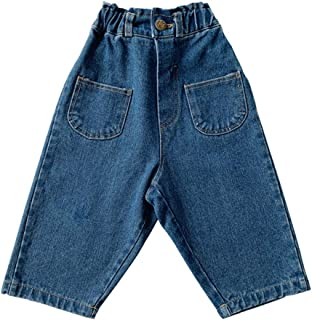 Xifamniy Infant Boys Trousers Elastic Waist Solid Color Loose Fit Straight Jeans