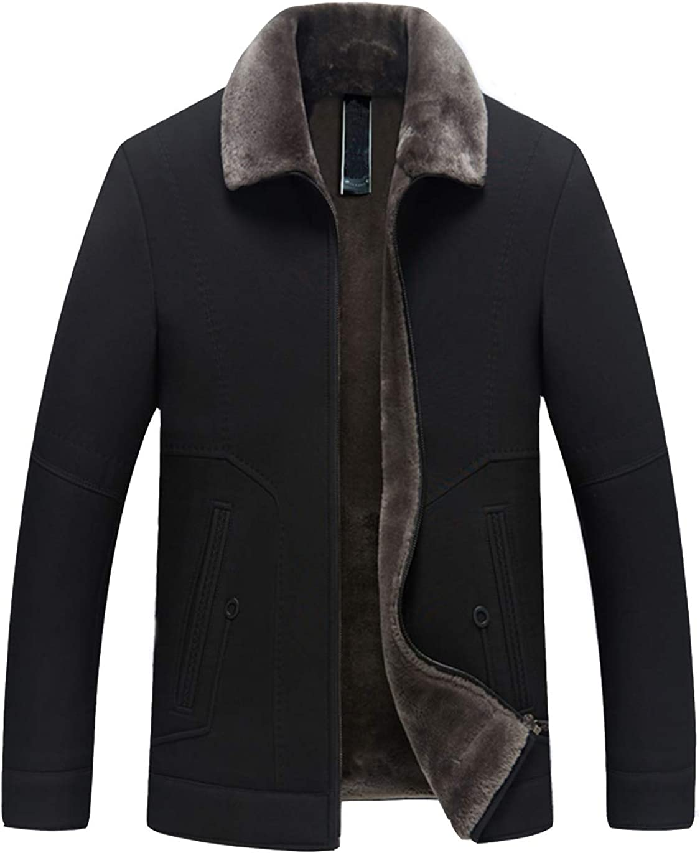 Haellun Mens Casual Fleece Lined Jacket Warm Sherpa Winter Collar Coat with Fur