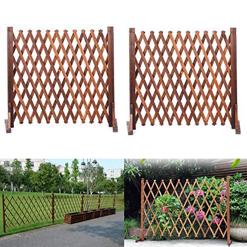 ybaymy 蜂の巣 木製 ペットゲート 伸縮可能 ペットフェンス アコーディオンフェンス 間仕切り 庭 フェンス ドアガードフェンス スプライス可能 室内室外 設置可能 ブラウン 70x160cm