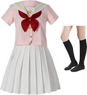 Classic Japanese Anime School Girls Pink Sailor Dress Shirts Uniform Cosplay Costumes with Socks Hairpin Set