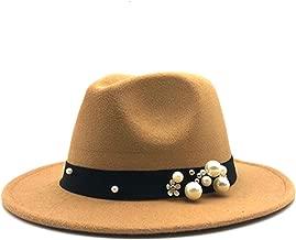 MingDe Sports Wool Fedora Hat Felt Cap Wide Brim Ladies Trilby Hat Women Pearls Jazz Church Godfather Sombrero Caps