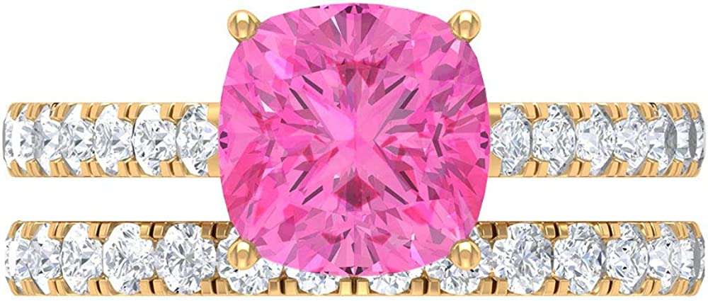 3 CT Lab Created Max 86% OFF Pink Sapphire Moissanite Solitaire Our shop most popular Et Ring with
