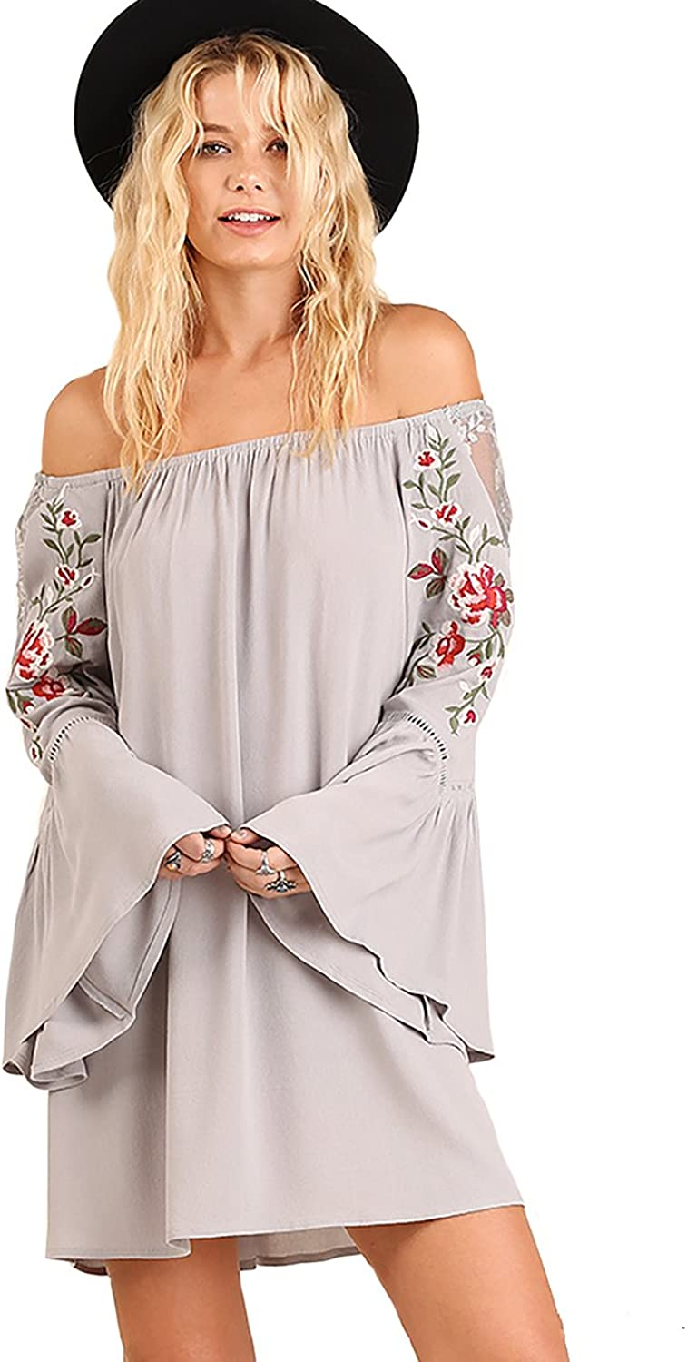 Umgee Embroidered Sweet and Sassy  Bell Sleeve Shift Tunic or Dress