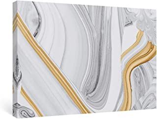 SUMGAR Abstract Wall Art Bedroom Modern Pictures Gold Framed Paintings Yellow Gray Canvas Prints Artwork,16x24 in
