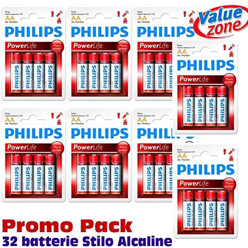 BATTERIE PHILIPS ALCALINE LONG LIFE PROMO PACK 32 X ALKALINE BATTERY STILO AA - 1,5V (Confezione da 32 pezzi)