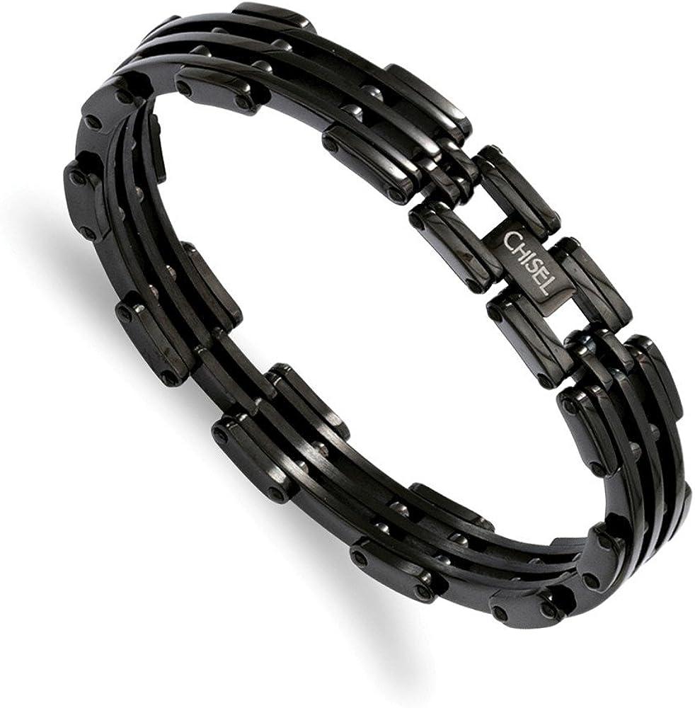 Stainless Steel Polished Black Link Cuff Bracelet