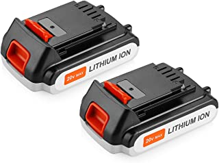 Yabelle 2 Pack Replacement 2500mAh Black and Decker 20V Lithium Battery for Black and Decker 20 Volt Max Cordless Power Tools LBXR20 LB20, LBX20