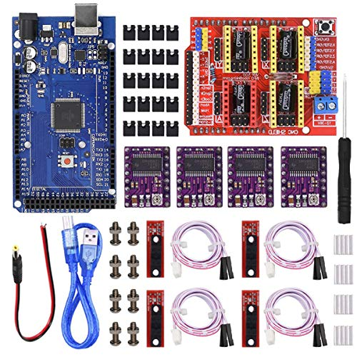 Youmile CNC Shield V3.0 expansión placa actualización Kit con Tablero para Arduino, controlador de motor paso a paso DRV8255 y disipador térmico, extremo óptico con cable, para impresora 3D