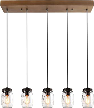 LALUZ Farmhouse Chandelier for Dining Rooms, 5-Lights Mason Jar Lights,Height Ajustable Pendant Lighting for Kitchen Island