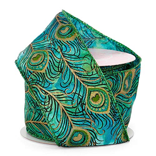 Peacock Feather Wired Ribbon - 2-1/2' X 10Yd - Green/Blue Glitter