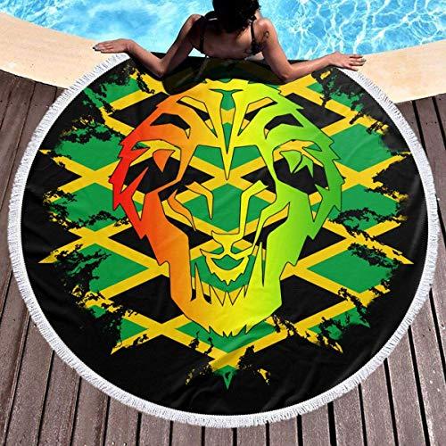 AEMAPE Toalla de Playa Redonda León Rasta Bandera Nacional de Jamaica Manta Grande Manta de Playa multipropósito