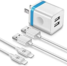 FIMARR (3-in-1) 6ft Fast Charging/Sync Cable + 2.1A/5V Dual Port USB Wall Plug Charger Replacement for iPhone Xs/XR/X 8/7/6 Plus, 5C/5S, iPad Air Mini Pro (Pack-3, Blue)