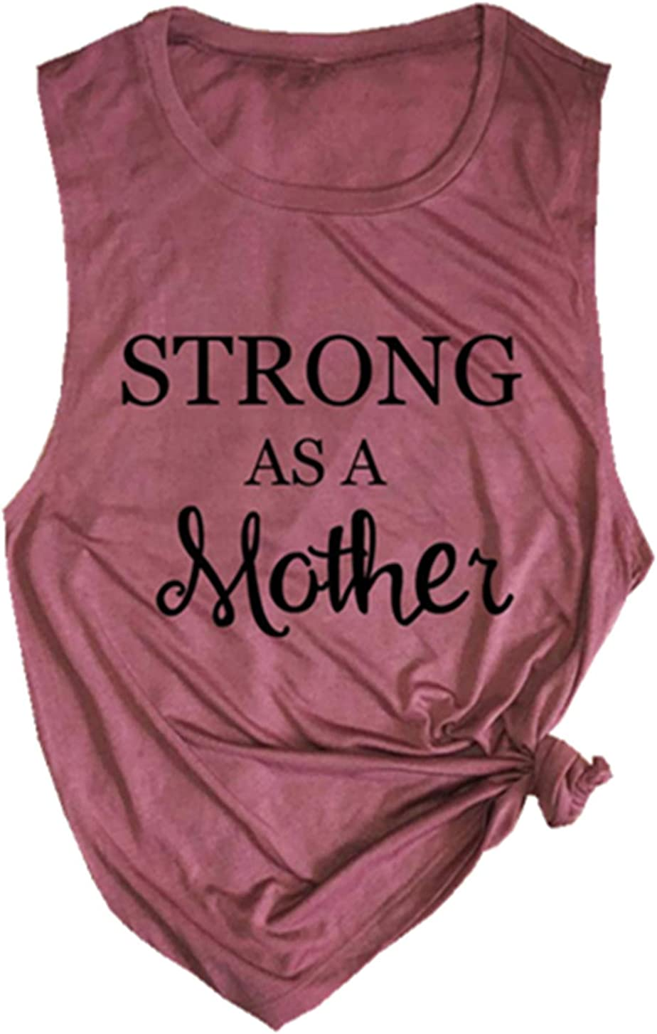 Strong As A Mother Mom Muscle Tank Top Womens Letter Graphic Cute Mama Vest Shirt Casual Sleeveless Workout Tank Tees