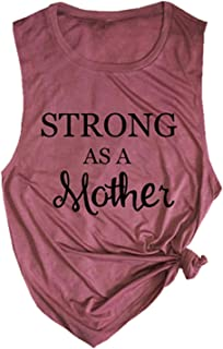 Strong As A Mother Mom Muscle Tank Top Women's Letter Graphic Cute Mama Vest Tees Casual Sleeveless Workout Shirt