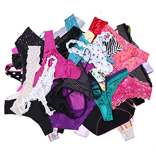 UWOCEKA Sexy Underwear, Kinds of Women T-Back Thong G-String Underpants Sexy Lacy Panties, 20 Pcs, XX-Large
