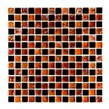 URBN Contemporary Black and Orange Chessboard Design Iridescent Glass Mosaic Tile in 5/8 Inch Thick Profile for Kitchen and Bath - One Box of 10 Sheets (10 SQ FT)