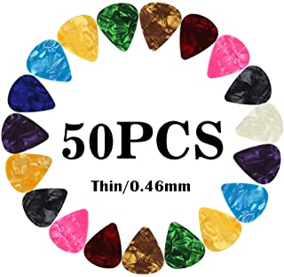 Guitar Picks Thin Light Soft Gauge Assorted Pearl Variety Sampler Pack Celluloid - 50 Pcs Mixed Colorful - Plectrums for Gift Acoustic Guitar, Bass and Electric Guitar - 0.46mm