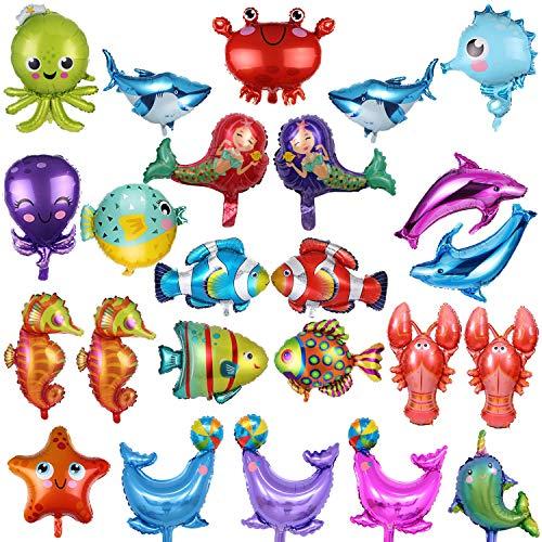 Globos Peces BESTZY 24PCS Foil Pescados Globos Animales Mar Globos Aluminio Helio Globo para decoración de fiesta de cumpleaños de niños