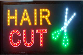 Hair Cut Signs for Business - Barber Shop Hair Cutting Open Neon Signs with a Metal Chain, Great for Barber Shop, Hair Cutting Salon Beauty Spa Store, Hair Extension Shop(48 X25 cm, Hair Cut)