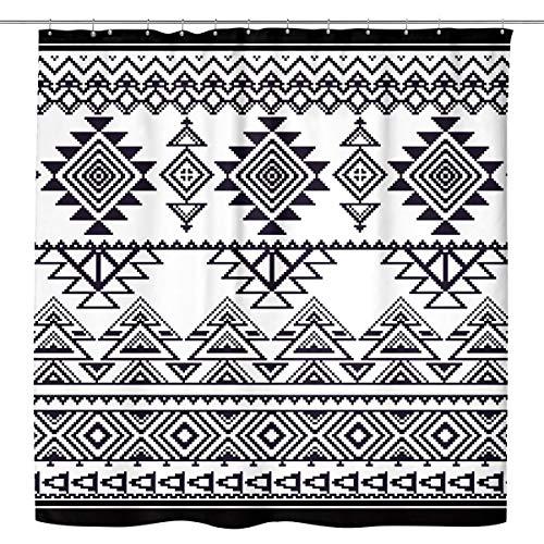 Kewwe Boho Shower Curtain Black White Tribal Chic Geometric 60Wx72H Inch Farmhouse Primitive Line Symmetric Diamond Waterproof Polyester Fabric Bathroom Decorations with 12 Hooks