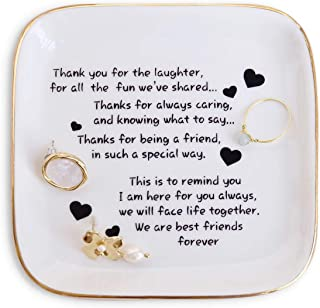 Friend Gift for Women,Ring Dish with Friendship Quotes Trinket Dish for Women Birthday Christmas Gift