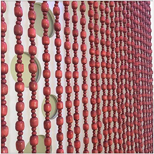 ZXL Beaded gordijnen houten snaren voor deur raamdecoratie scheidingspaneel scherm aanpassen (kleur: beige, grootte: 30 snaren -0.9 x 1.88 m)