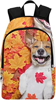 Jack Russell Dog with Autumn Leaves Casual Daypack Travel Bag College School Backpack for Mens and Women