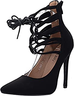 Mila Lady ETHER21 Pointed Toe Lace up Strappy Ankle Elegance Stilettos Lady Heeled Pumps Shoes