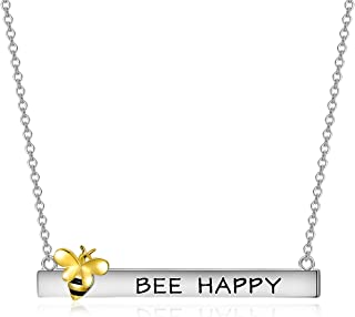 925 Sterling Silver Honey Bee Necklace Engraved Bee Happy Bar Pendant Three Tone Bumblebee Jewelry for Women