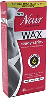 Nair Hair Remover Wax Ready- Strips 40 Count Legs/Body